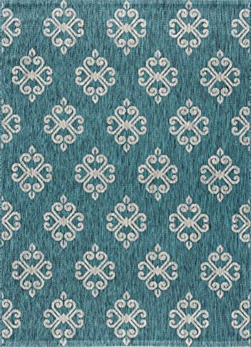 Vega Geometric Teal Rectangle Easy-Care Indoor Outdoor Area Rug, 6.7 x 10