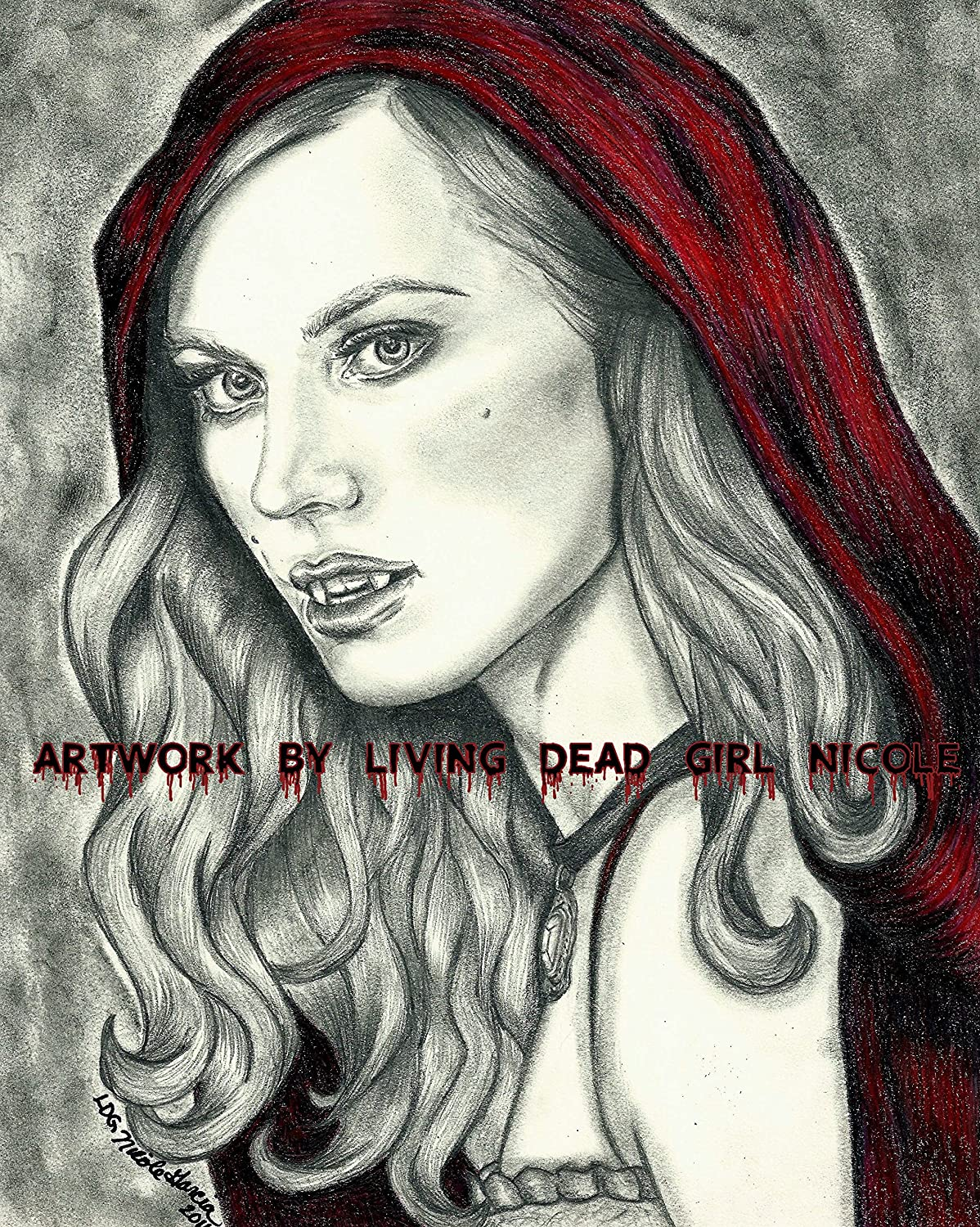 Amazon com portrait drawing art printinvite me in deborah ann woll jessica hambry true blood vampire red riding hood handmade