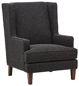 "Stone & Beam Highland Modern Wingback Living Room Accent Chair, 31.9""W, Caviar"