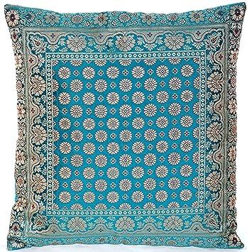 Türkis / Turquoise Indische Seide Deko Kissenbezüge 40 cm x 40 cm,  Extravaganten Deko Kissenbezüge für Wohnzimmer und Schlafzimmer Dekoration,  ...
