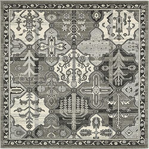 Unique Loom La Jolla Collection Tone-on-Tone Traditional Gray Square Rug 6 0 x 6 0