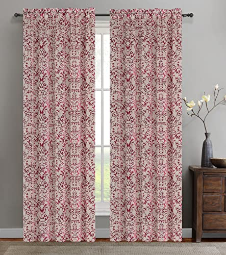 Urbanest 50-inch by 96-inch Set of 2 Jacquard Vine Drapery Curtain Panel, Fuchsia