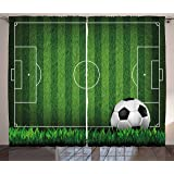 Lunarable Sports Curtains, Green Grass Field Soccer Playground with The Ball Scheme Stripes Strategy, Living Room…