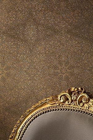 Papier peint intissé Motif mandala Papier peint structuré Marron Or ...