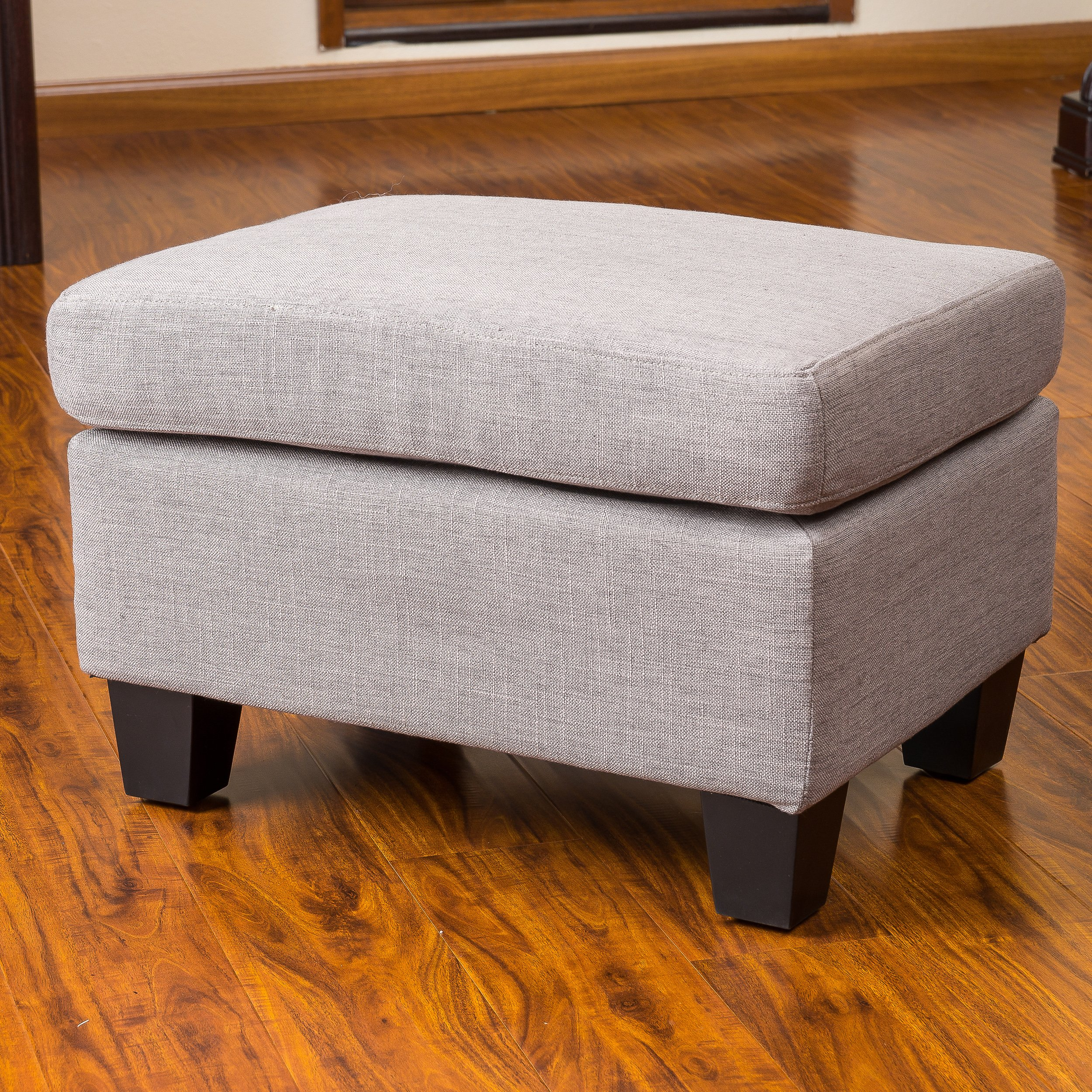 Great Deal Furniture 239317 Christabel Grey Fabric Ottoman Footstool by Great Deal Furniture