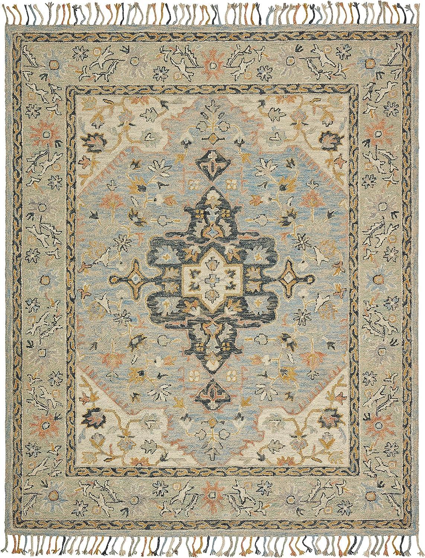 Amazon Brand – Stone & Beam Garrison Vintage Pattern Wool Area Rug, 5 x 8 Foot, Grey Multi