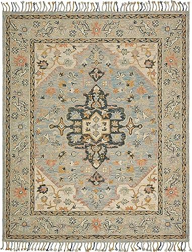 Amazon Brand Stone Beam Garrison Vintage Pattern Wool Area Rug, 5 x 8 Foot, Grey Multi