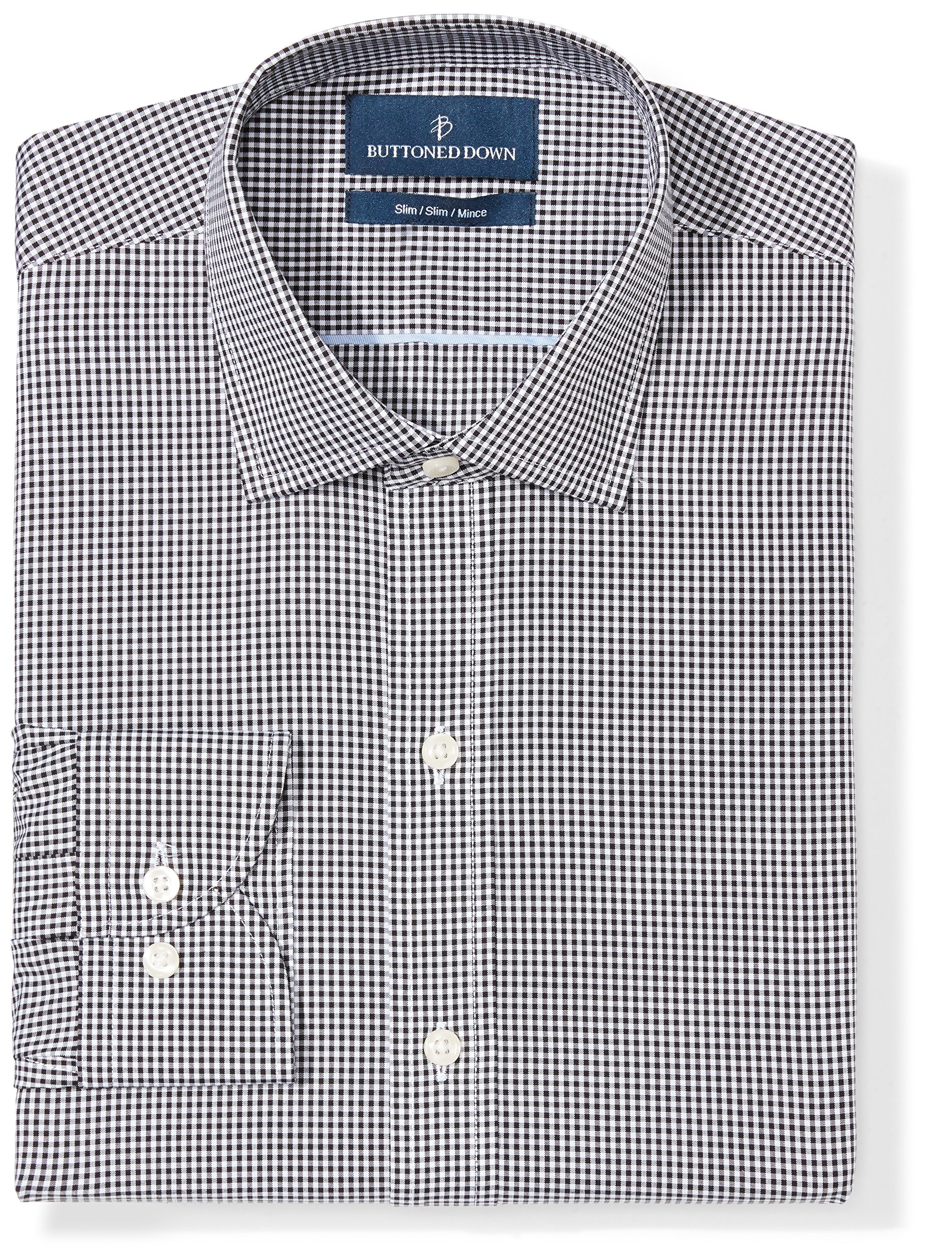 Buttoned Down Men's Slim Fit Spread-Collar Pattern Non-Iron Dress Shirt, Black Small Gingham, 17'' Neck 32'' Sleeve