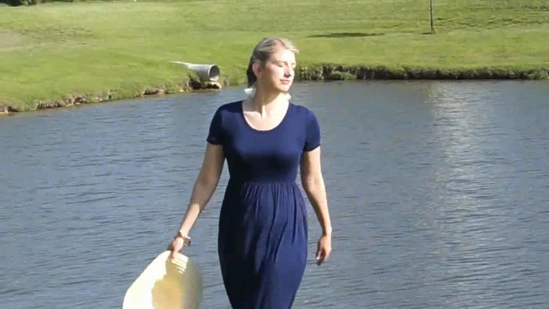 VIISHOW Women's Short Sleeve Empire Waist Maxi Dresses Long Dresses with Pockets 4