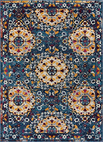 Well Woven Laurent Topeka Modern Suzani Blue 7 10 x 9 10 Area Rug