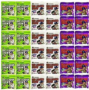 Big League Chew Assorted Variety Pack Of 36 Original, Grape, Sour Apple (2.12 Oz Bags)
