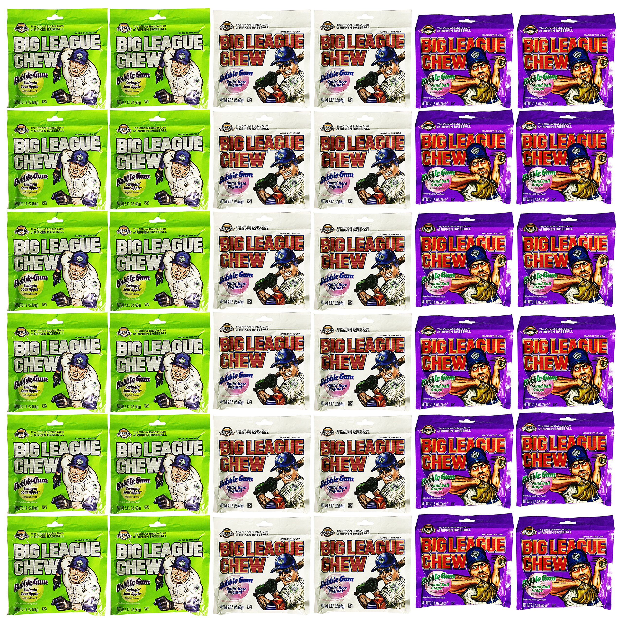 Big League Chew Assorted Variety Pack of 36 Original, Grape, Sour Apple (2.12 Ounce Bags)