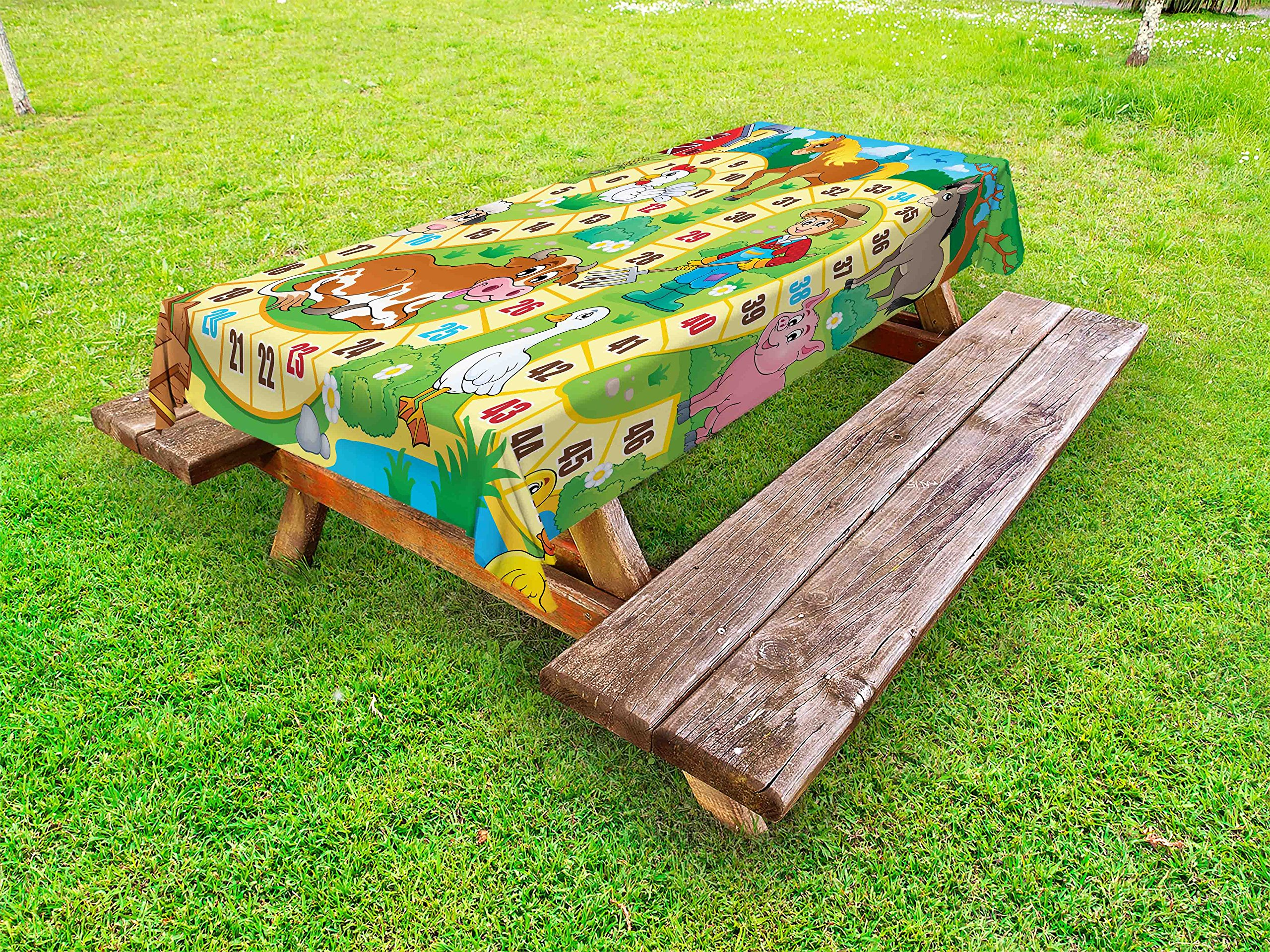 Lunarable Board Game Outdoor Tablecloth, Rustic Farmhouse Agricultural Environment Animals Spring in Woods Nursery Design, Decorative Washable Picnic Table Cloth, 58 X 84 inches, Multicolor