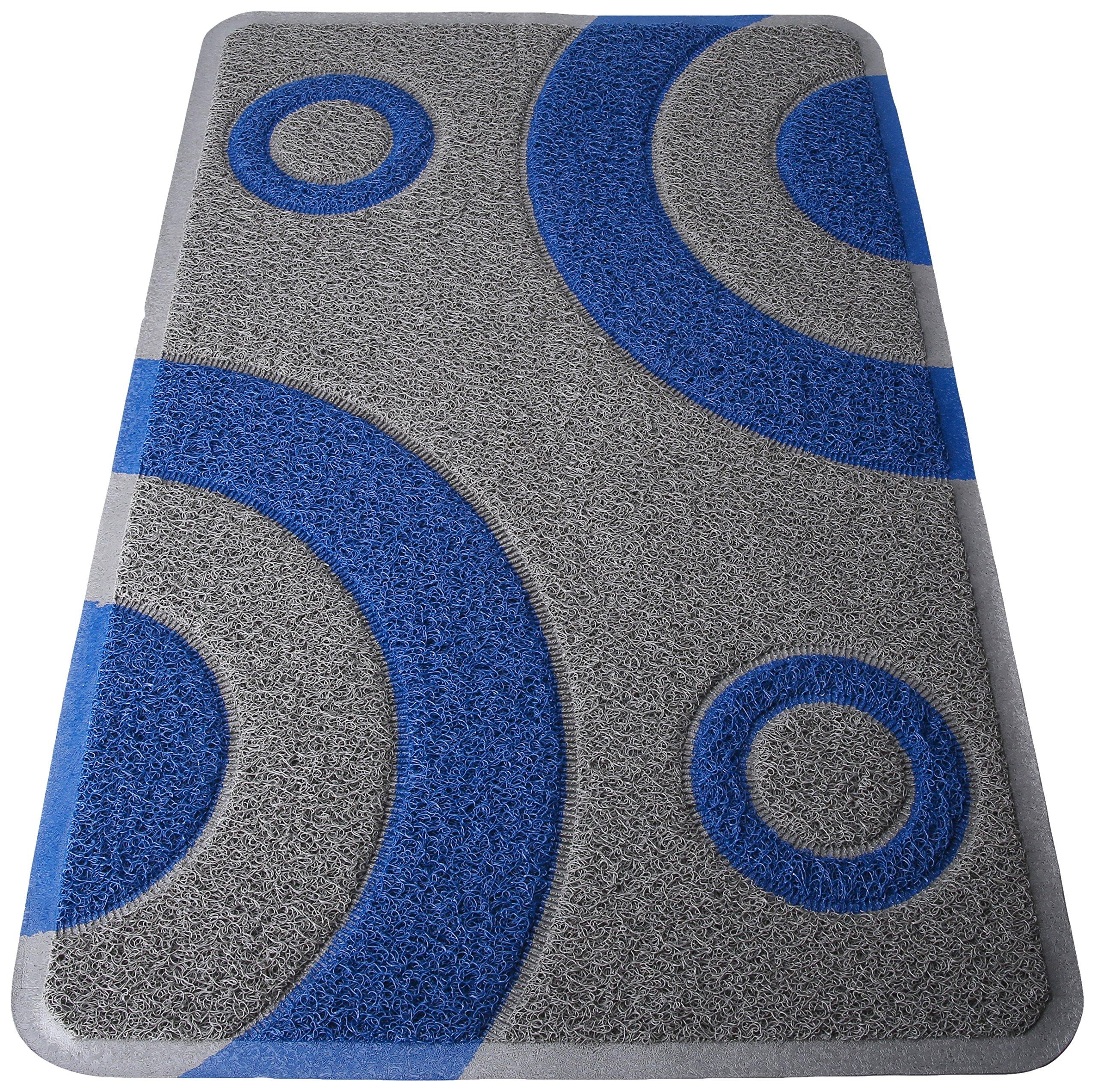 Smartcatcher Bullseye Cat Litter Mat Silver and Blue