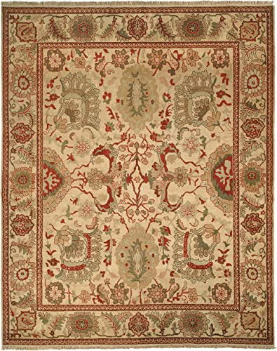 Safavieh Zeigler Mahal Collection ZM12A Hand-Knotted Ivory Wool Area Rug, 10 feet by 14 feet 10 x 14