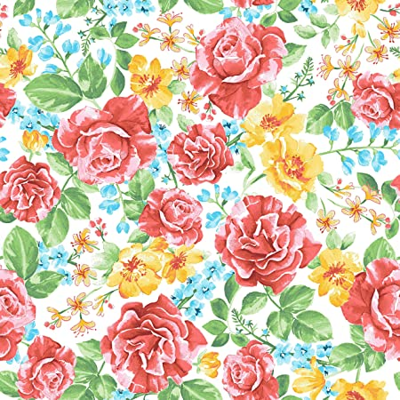 cotton included! Retro Floral Print Fabric by the Yard with Material of Your Choice