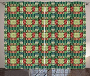 """Ambesonne Ethnic Curtains, Portuguese Azulejo Ceramic Tiles Talavera Style Traditional European Culture Motifs, Living Room Bedroom Window Drapes 2 Panel Set, 108"""" X 63"""", Green Red"""