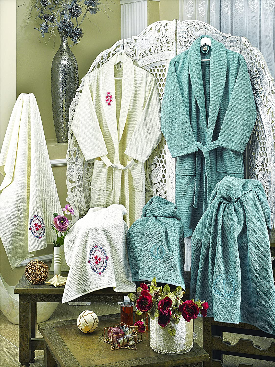 Luxurious Plush Durable Set of Robes,Hotel and spa Robes for Men//Women Turkish papatya Bathrobe Set 6 psc Soft
