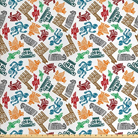 Amazon Com Ambesonne Tribal Decor Fabric By The Yard Mayan And