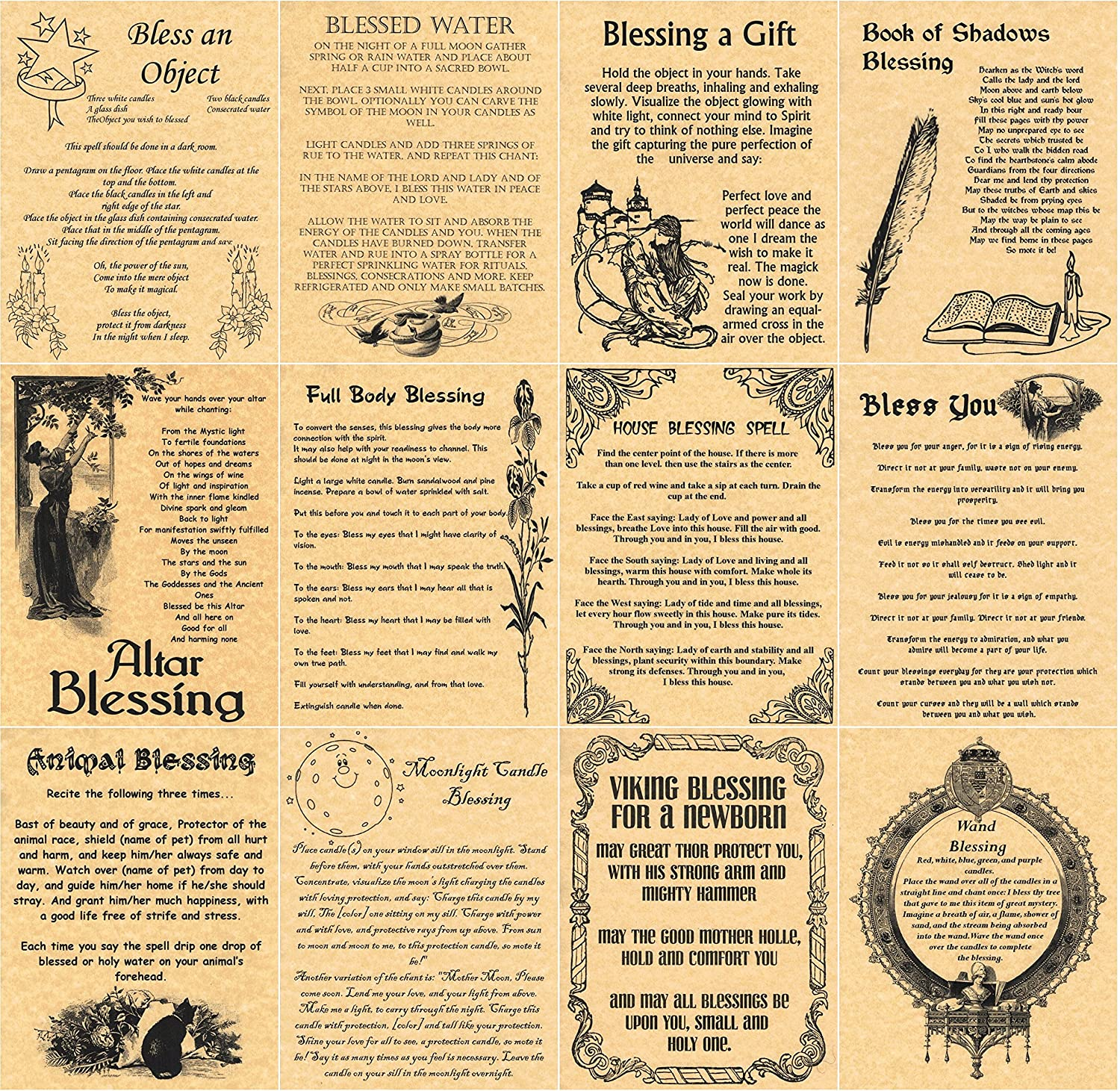 Set of 12 Blessings, Book of Shadows Spells Pages, Wicca, Witchcraft,  Wiccan Blessings (Gold)