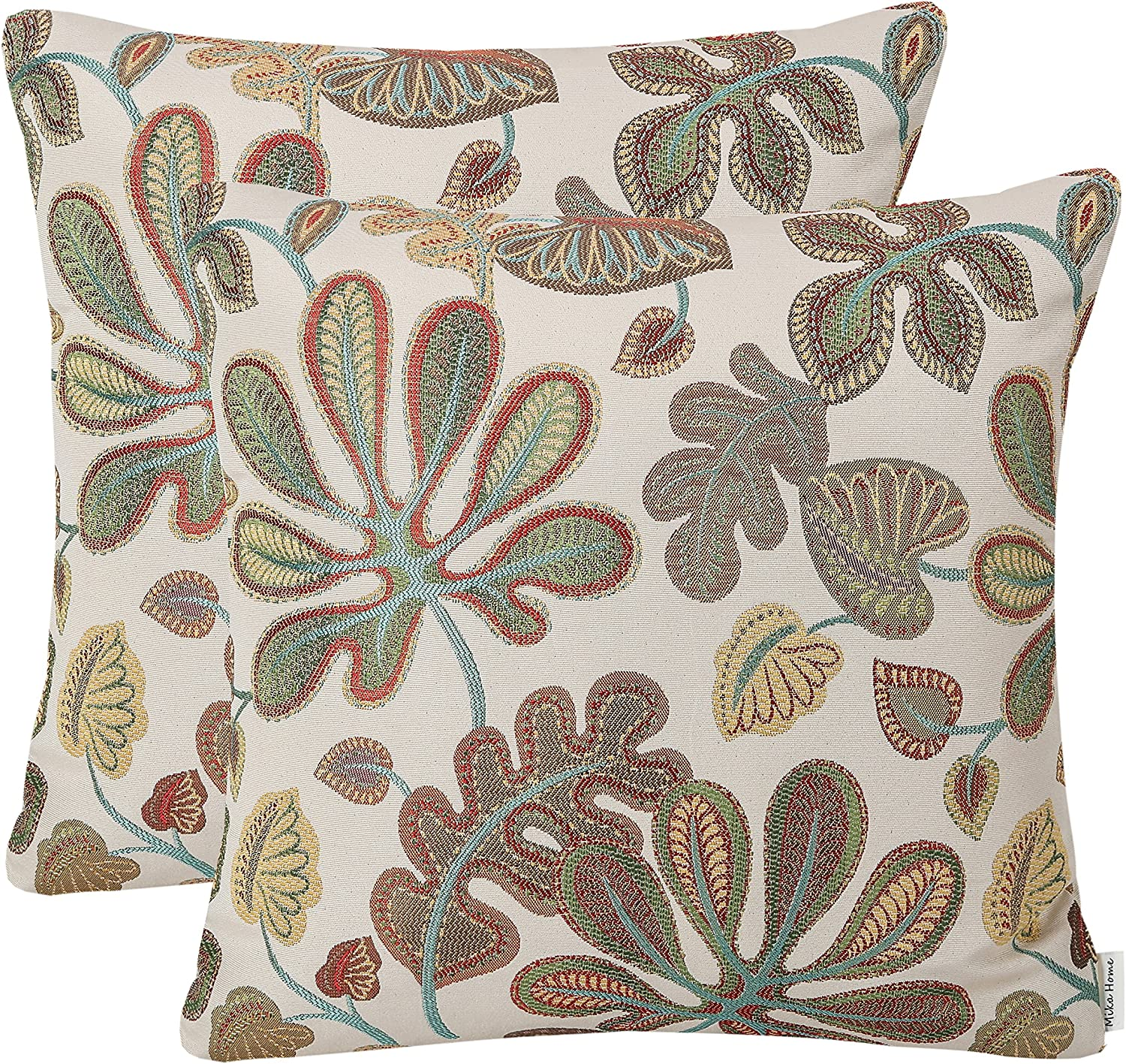 Mika Home Set of 2 Jacquard Tropical Leaf Pattern Throw Pillow Covers Decorative Pillowcase 20X20 Inches,Teal Cream