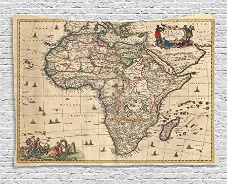 Map Of Africa Geography.Ambesonne Antique Decor Collection Old Map Of Africa Continent Ancient Historic Borders Rustic Manuscript Geography Bedroom Living Room Dorm Wall