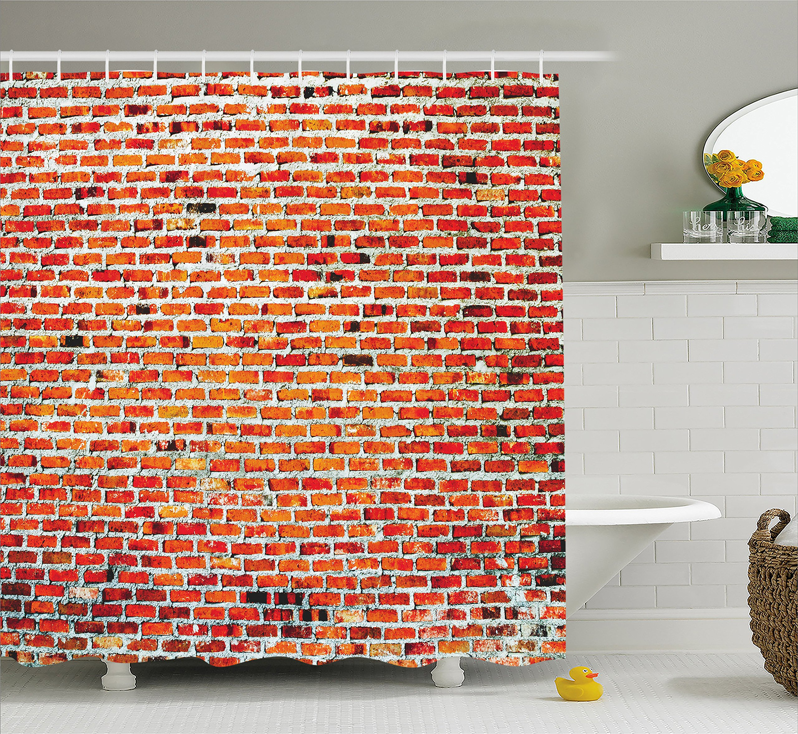 Rustic Home Decor Shower Curtain by Ambesonne, Brick Wall with Decorative Bricks Grunge Style Rampart Pattern, Fabric Bathroom Decor Set with Hooks, 84 Inches Extra Long, Tile Red Black White
