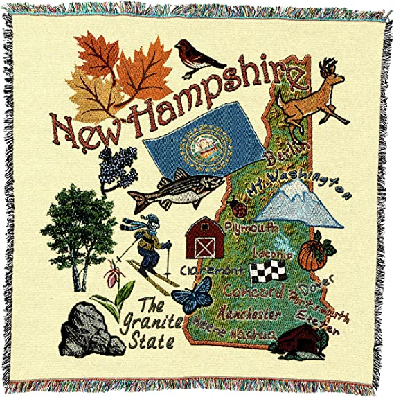 Amazon Com State Of New Hampshire Lap Square Blanket Throw Woven From Cotton Made In The Usa 54x54 Kitchen Dining
