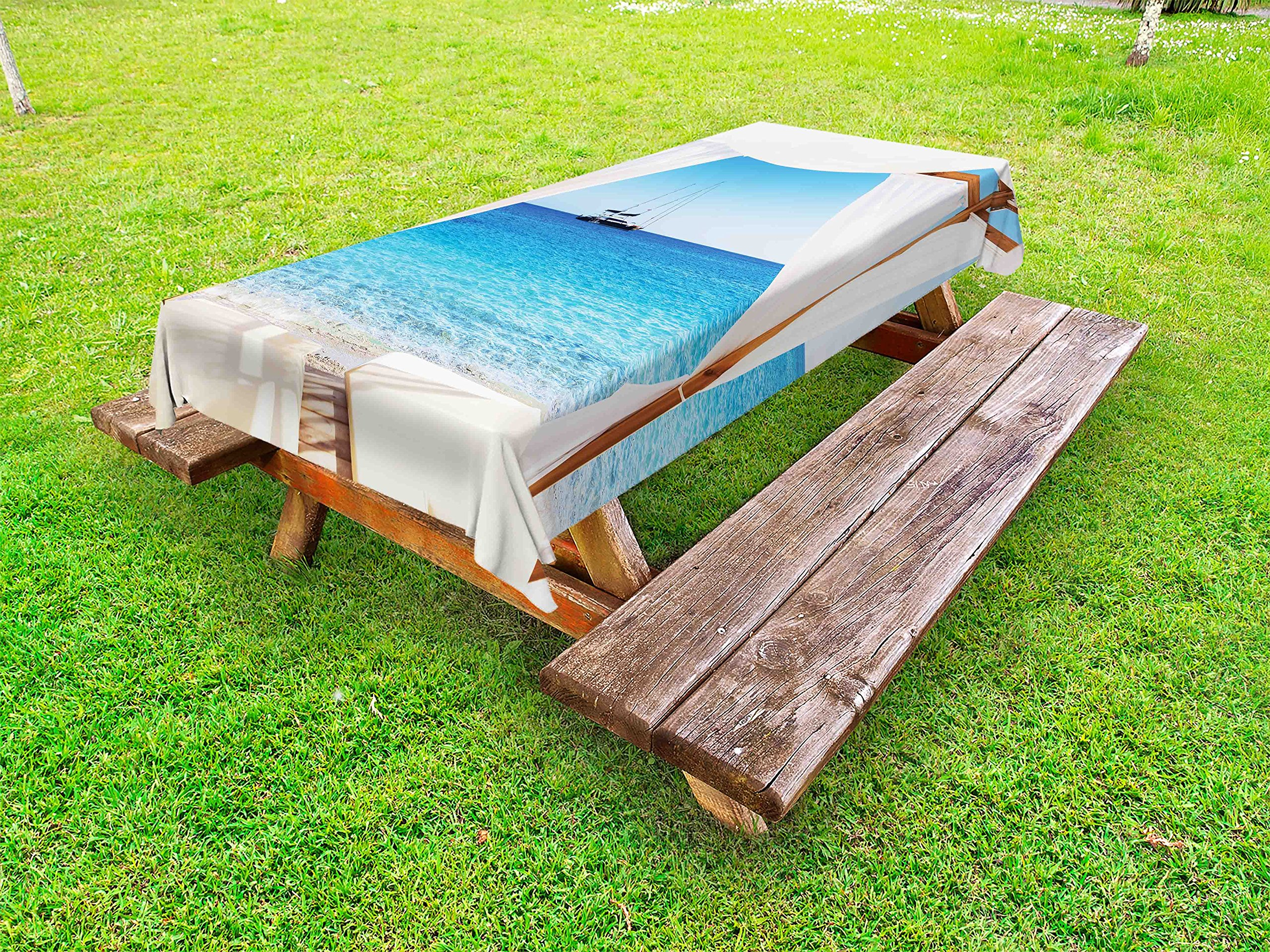 Ambesonne Balinese Outdoor Tablecloth, Beach Through Balinese Bed Summer Sunshine Clear Sky Honeymoon Natural Spa Picture, Decorative Washable Picnic Table Cloth, 58 X 84 inches, Blue White