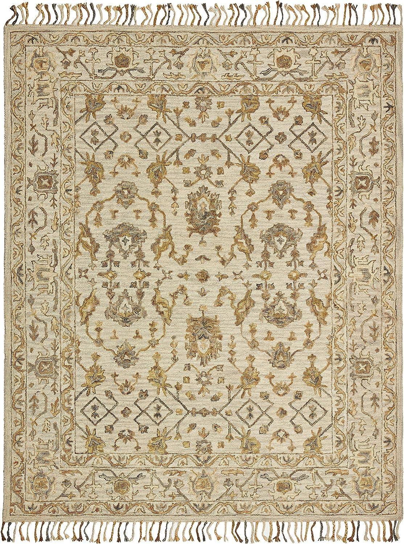 Amazon Brand – Stone & Beam Lottie Traditional Wool Area Rug, 5 x 8 Foot, Beige