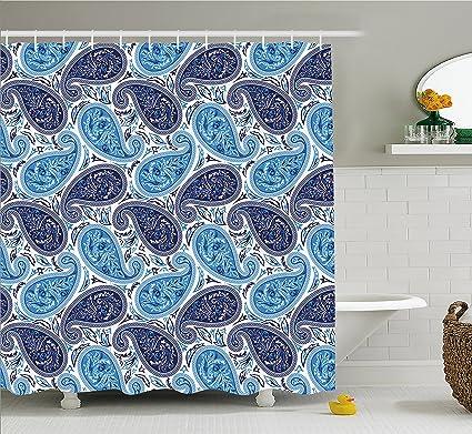 Lunarable Paisley Shower Curtain Iranian Contrasting Color Palette Oriental Pattern Teardrop Shape Fabric