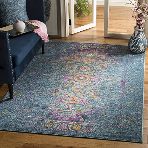 Safavieh Madison Collection MAD122C Blue and Fuchsia Bohemian Chic Distressed Area Rug 4 x 6
