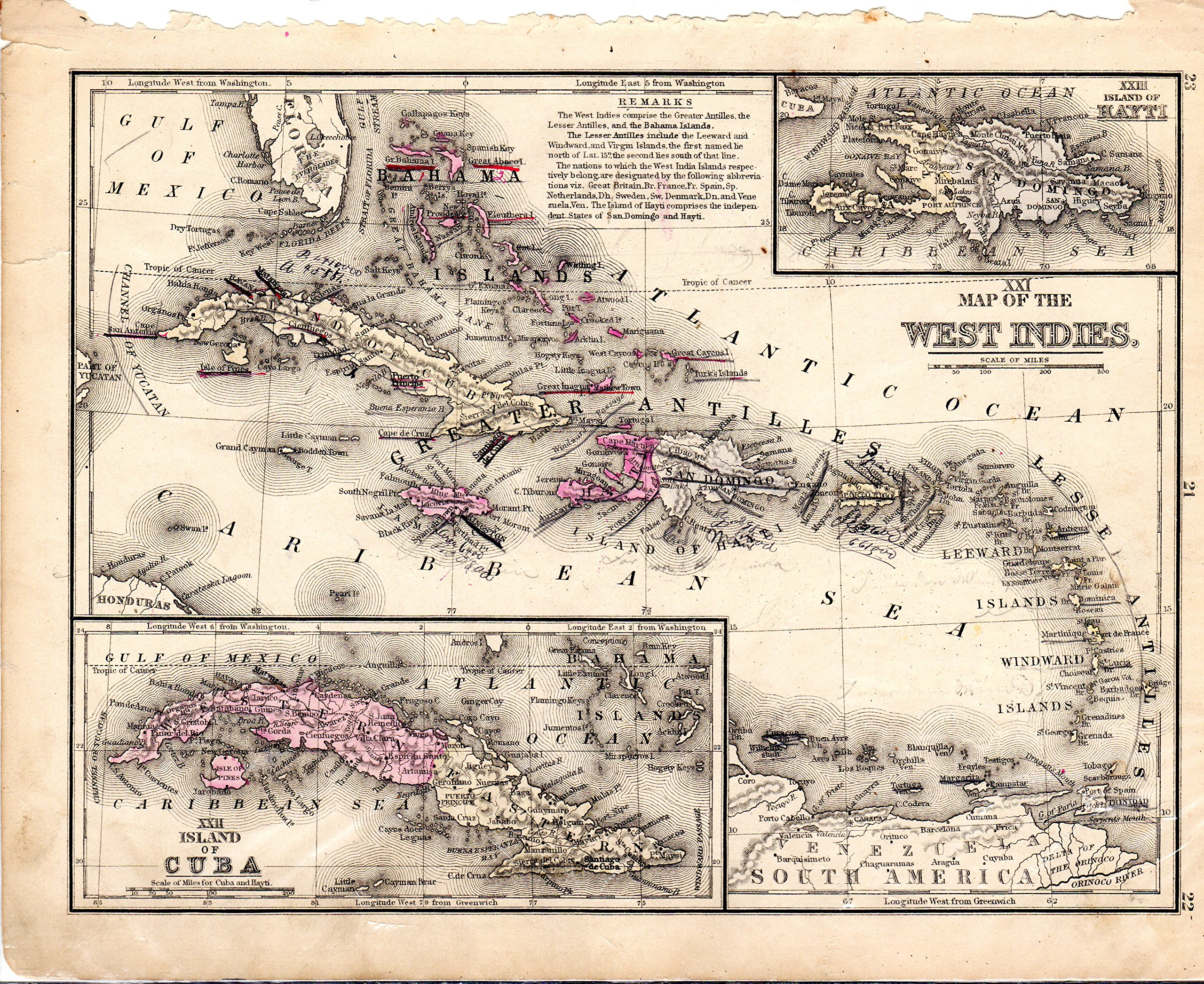 MAP: West Indies, including the Island of Cuba (#XXI.from Mitchell's Modern Atlas)