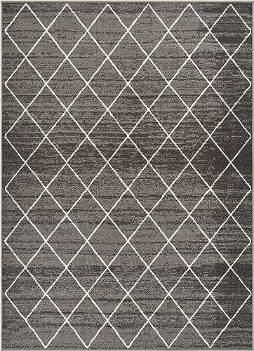 Well Woven Kings Court Clover Modern Grey Geometric Trellis 5 x 7 Indoor Outdoor Area Rug