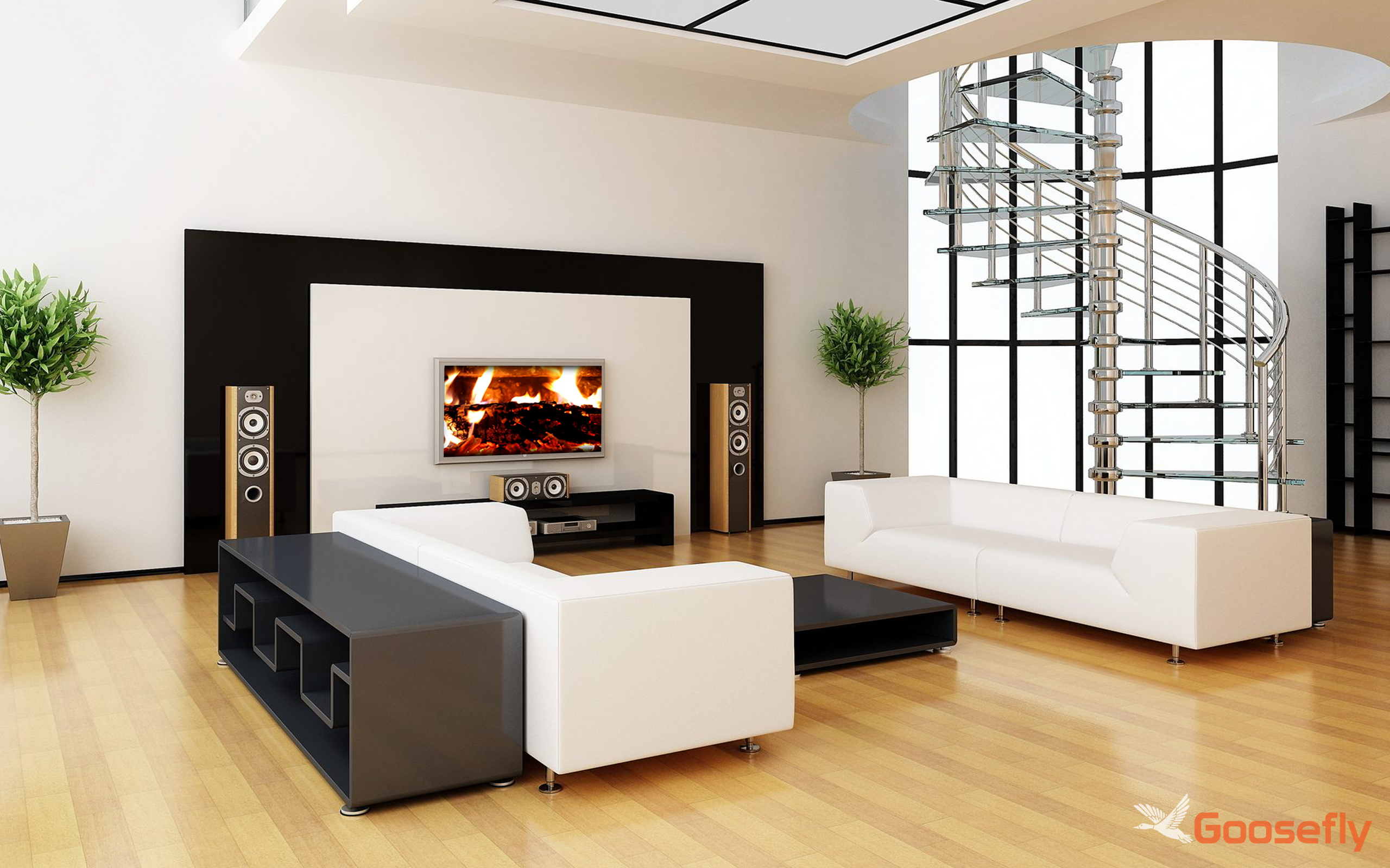 acogedora chimenea HD GRATIS: decora tu sala de TV con una ...