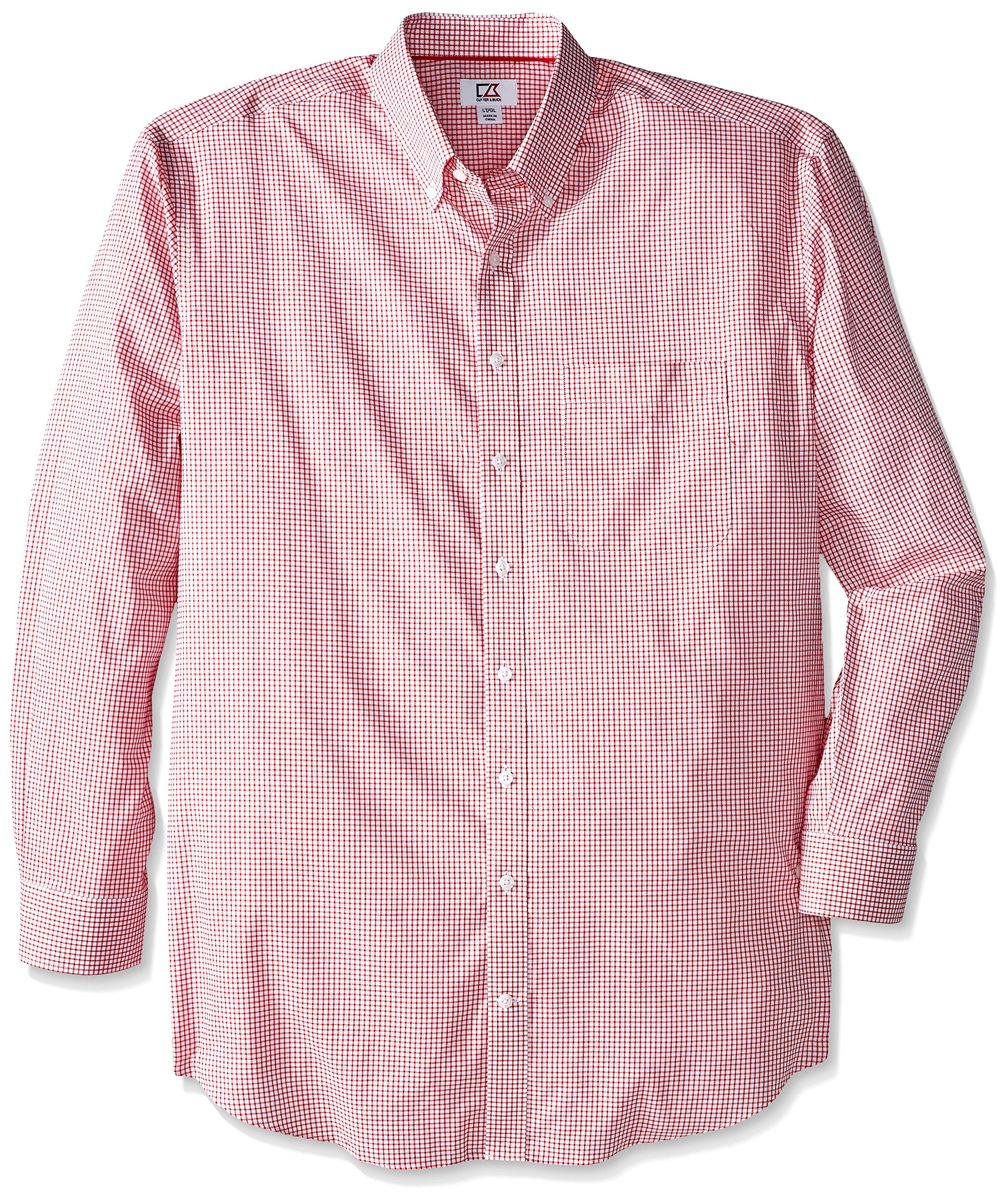 Cutter & Buck Men's Big-Tall Long Sleeve Epic Easy Care Tattersall Shirt, Red, X-Large/Tall