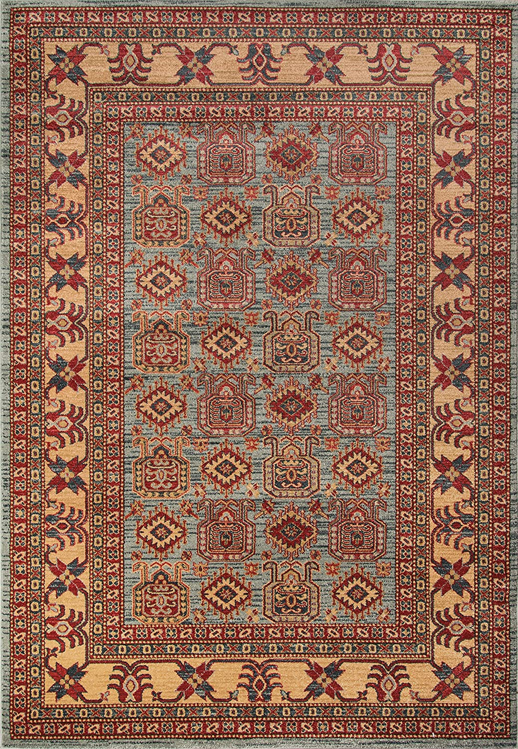 Momeni Rugs GHAZNGZ-06LBL2030 Ghazni Collection, Traditional Area Rug, 2' x 3', Light Blue