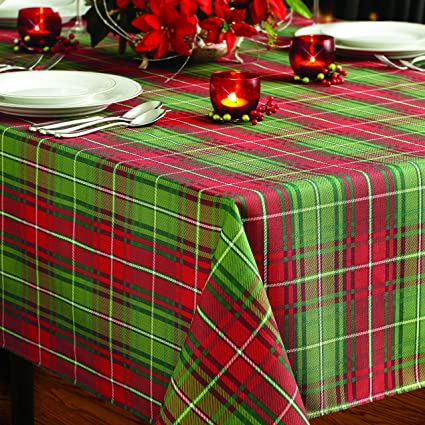 Benson Mills Christmas Plaid Printed Tablecloth 60 Inch By 120 Inch Home Kitchen