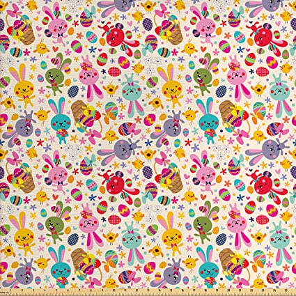 Easter Brushstroke EGGS Fabric By the Half Yard 100/% Cotton