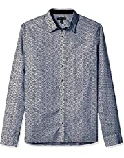Geoffrey Beene Mens 56W9006 Long Sleeve Button Down Print Shirt Long Sleeve Button Down Shirt - White