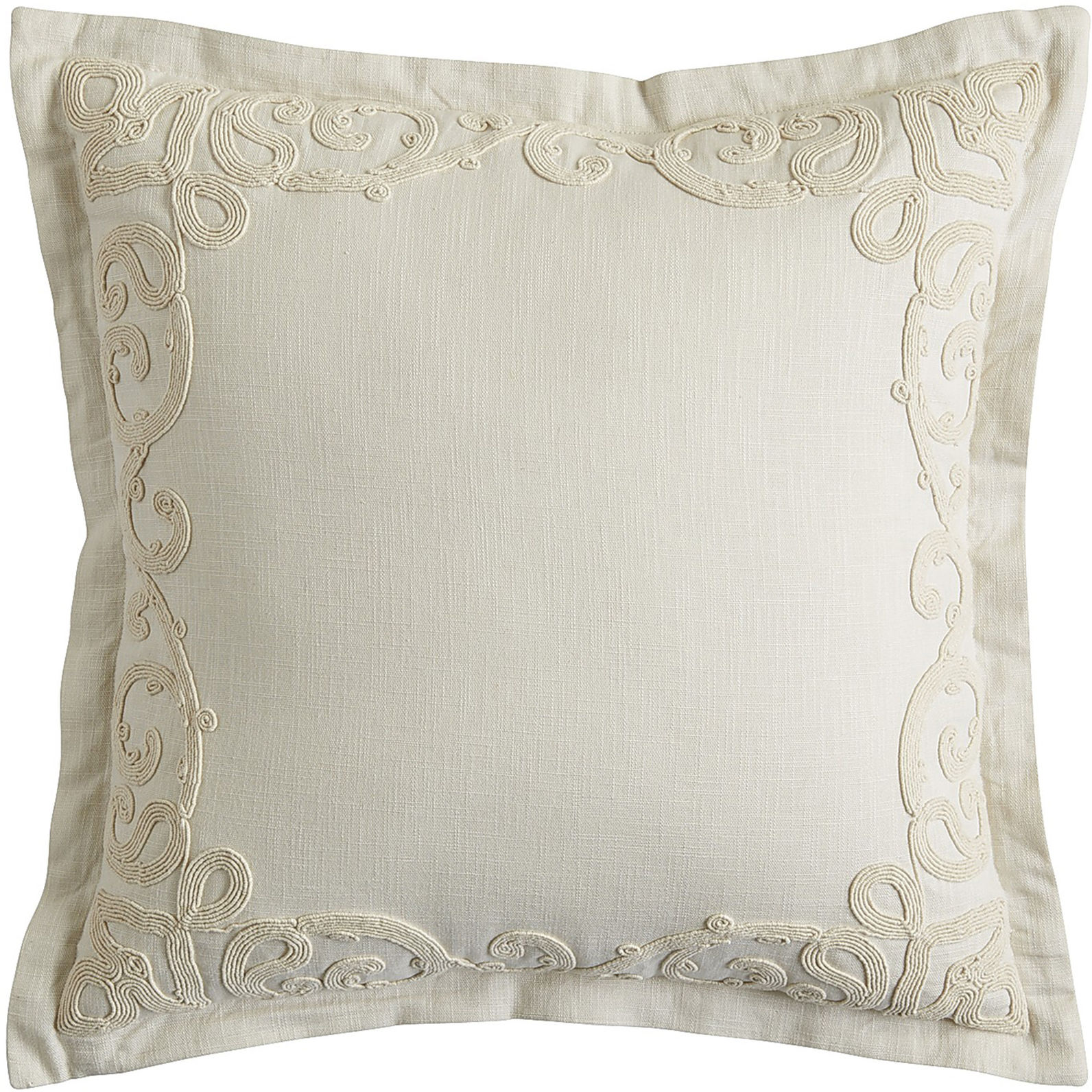 Dhurrie Embroidered Frame Pillow - Gray | Pier 1 Imports