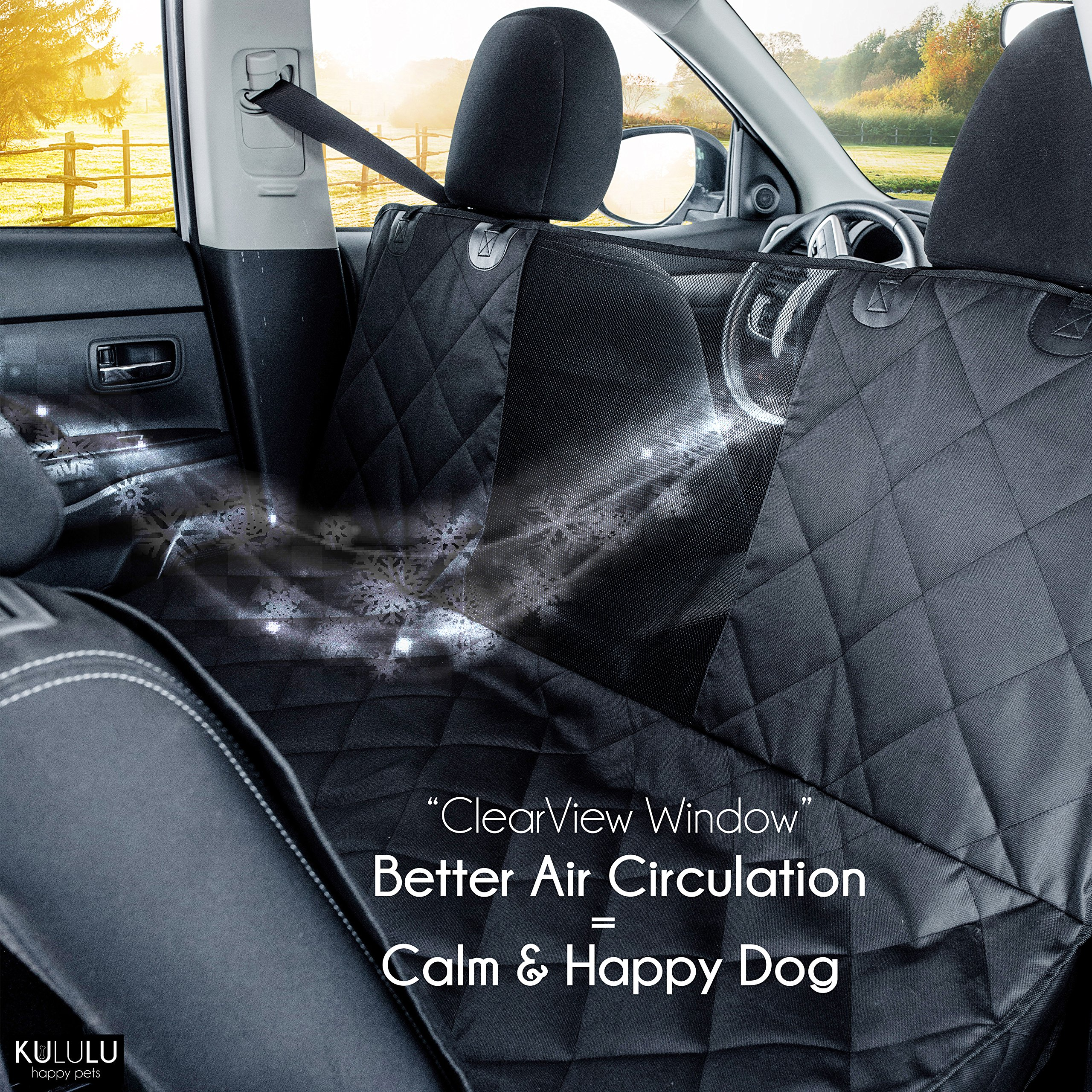 PREMIUM XL Dog Car Seat Cover Hammock Style And Cargo Liner For Cars, Trucks And Suv's. The Original Design You Can See Your Pet & Your Pet Sees You with the ClearView Window- Keeps Your Pet Calm. by Kululu (Image #3)