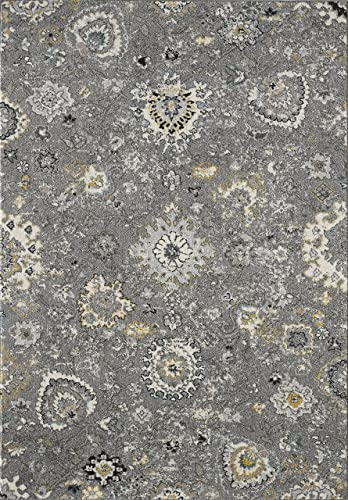 Distressed Vintage Abani Rugs Grey Ivory Floral Traditional 5'3″ x 7'6″ Area Rug