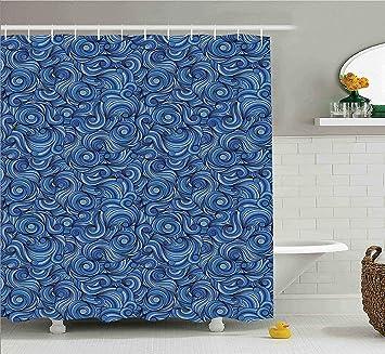 Amazoncom Navy Blue Shower Curtain Set Asian Decor By Ambesonne - Navy blue shower curtain set