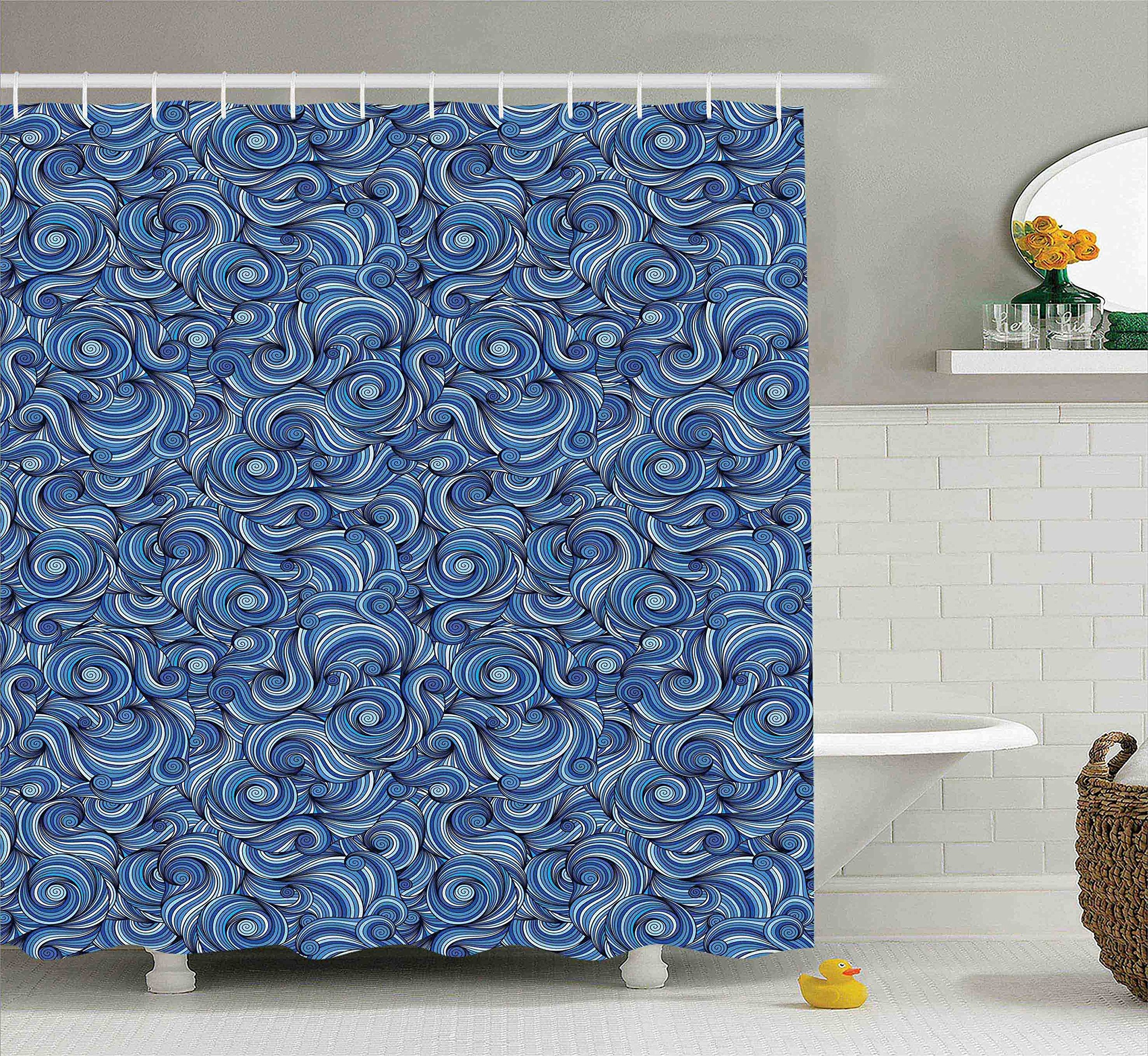Navy Blue Shower Curtain Set Asian Decor By Ambesonne Abstract Art