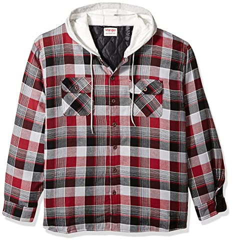 Wrangler Authentics Men's Big Tall Long Sleeve Quilted Lined Flannel Shirt Jacket With Hood by Wrangler