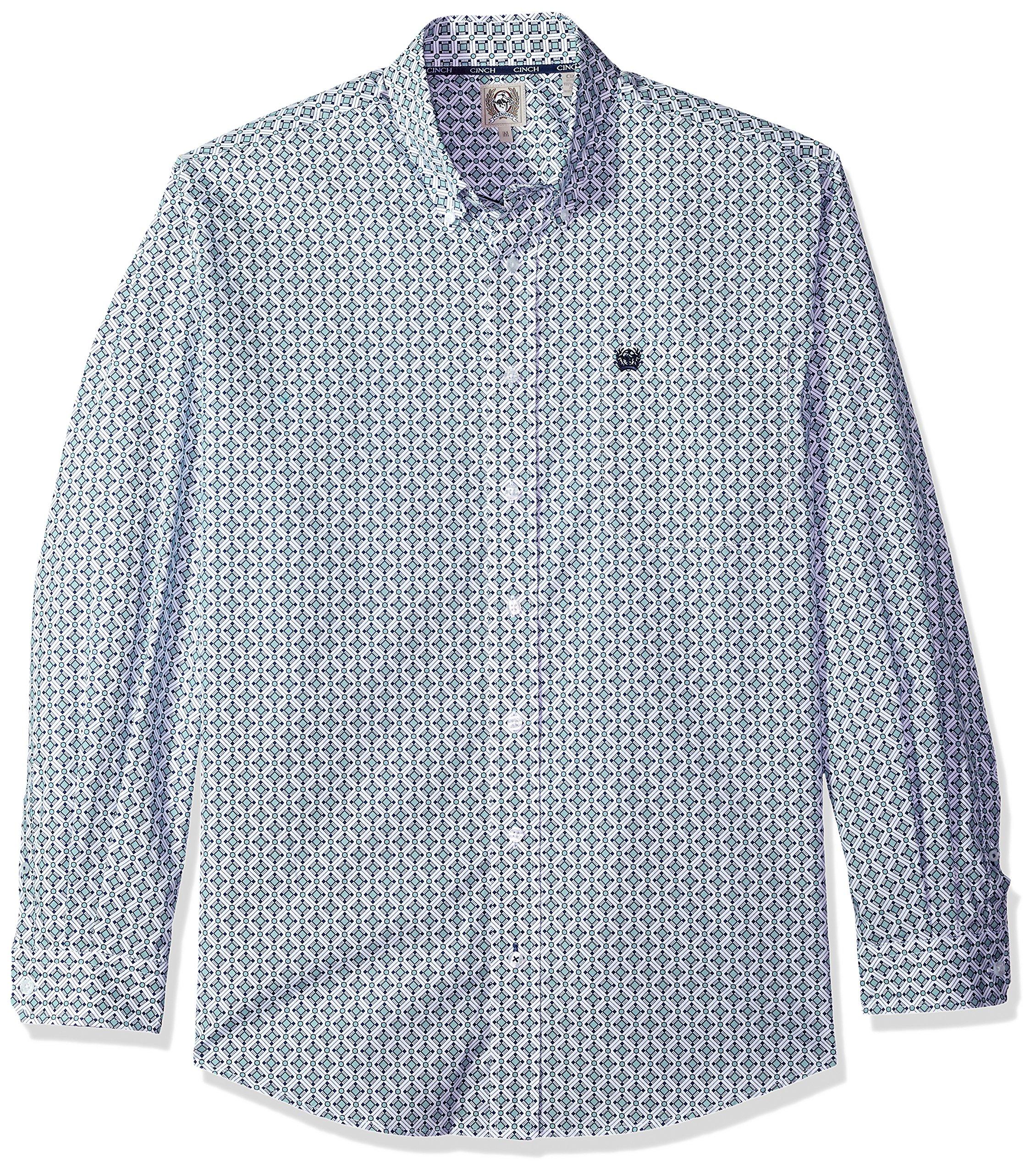 Cinch Men's Classic Fit Long Sleeve Button One Open Pocket Print Shirt, White/Light Blue, M