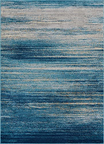 Well Woven Layla Stripes Blue Tribal Area Rug 3×5 3 3 x 4 7 Soft Plush Faded Abstract Modern Carpet