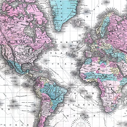 Amazon.com: Vintage Map of the World Wrapping Paper - Premium 28\