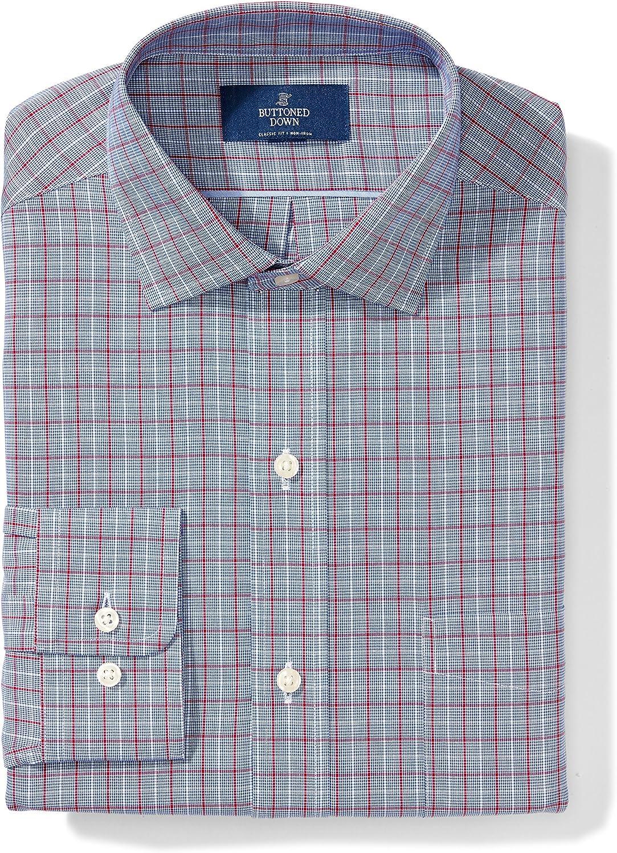 Brand - BUTTONED DOWN Men's Classic Fit Plaid Dress Shirt, Supima Cotton Non-Iron: Clothing